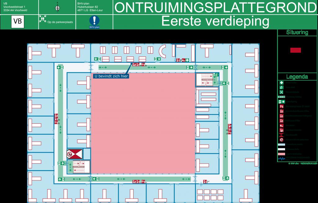 Ontruimingsplattegrond voorbeeld kantoor met plaats